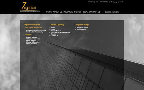 Screenshot of Site Map Page zegatron.com - ::Zegatron:: Apparel Printing Company USA | Buy Custom Design Tshirt | American Web Solution Company | Website Designing USA |Buy Garments Sale - captured Oct. 7, 2014
