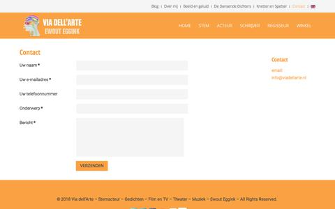 Screenshot of Contact Page viadellarte.nl - Contact - Ewout Eggink | Via dell'Arte - captured Sept. 21, 2018
