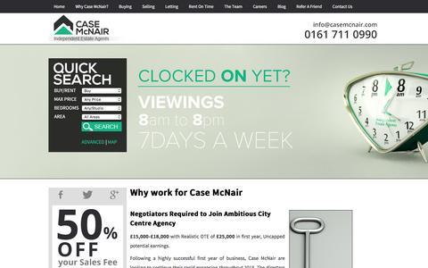 Screenshot of Jobs Page casemcnair.com - Estate Agents Careers In Manchester - Case McNair Independent Estate Agents - captured Jan. 26, 2016