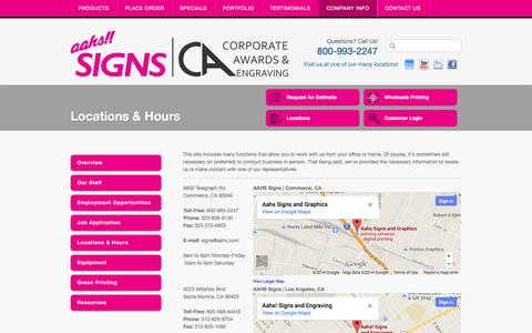 Screenshot of Locations Page aahssigns.com - Trade Show|Banners|Signs|Flags|Graphics|Awards|Promotion Materials|California - captured Oct. 4, 2014