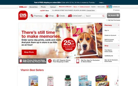 Screenshot of Home Page cvs.com - CVS pharmacy - Online Pharmacy - Shop for Wellness and Beauty Products - captured Dec. 15, 2015