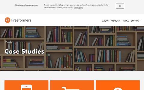 Screenshot of Case Studies Page freeformers.com - Case Studies - Freeformers : Freeformers - captured Aug. 27, 2018