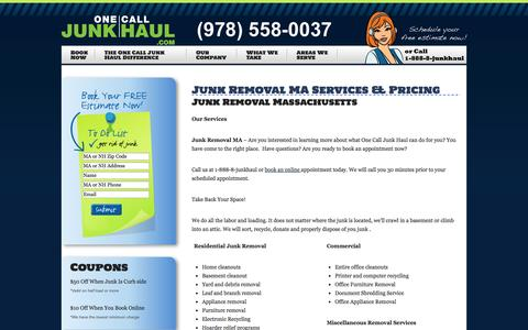 Screenshot of Pricing Page onecalljunkhaul.com - Junk Removal Services & Pricing in Boston Salem MA   One Call Junk Haul - captured Oct. 7, 2014