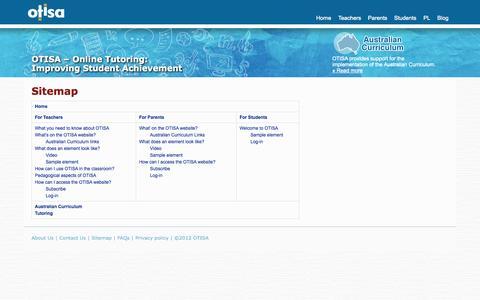 Screenshot of Site Map Page otisa.com.au - OTISA - For Teachers, Parents and Students - captured Oct. 9, 2014