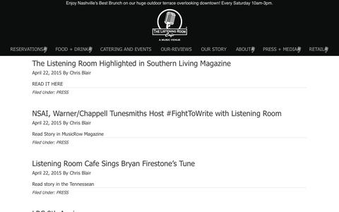 Screenshot of Press Page listeningroomcafe.com - PRESS - The Listening Room Cafe - captured Dec. 17, 2016
