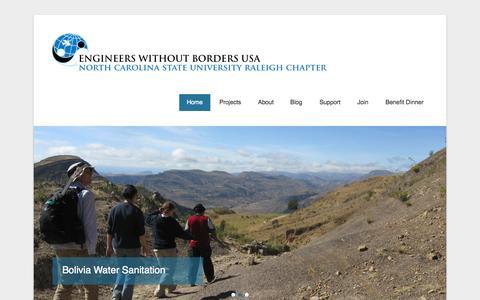 Screenshot of Home Page Menu Page ewbncsu.org - EWB-USA, NC State Student Chapter | NC State University - captured Oct. 1, 2014