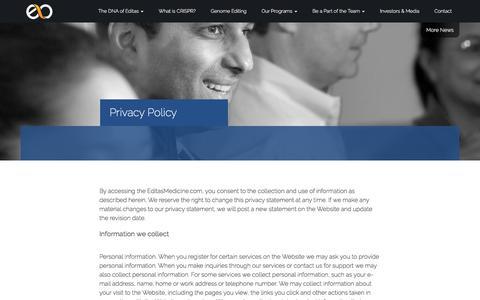 Screenshot of Privacy Page editasmedicine.com - Privacy Policy - captured Sept. 8, 2016