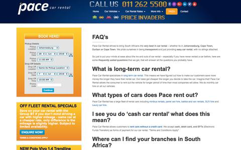 Screenshot of FAQ Page pacecarrental.co.za - FAQ's | Pace Car Rental - captured June 21, 2018