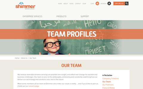 Screenshot of Team Page shimmersensing.com - Team Profiles | Meet the Team at Shimmer - captured Oct. 6, 2014