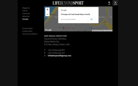 Screenshot of Contact Page lifebeyondsportmedia.com - Contact - Life Beyond Sport | Passion For Luxury & Lifestyle - captured Sept. 28, 2018
