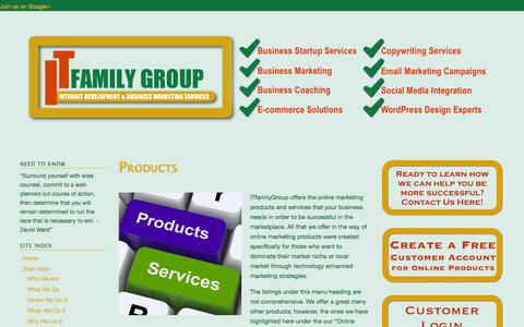 Screenshot of Products Page itfamilygroup.com - Products - We Build Success Stories - captured Oct. 5, 2014