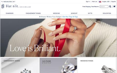 Screenshot of Home Page bluenile.com - Blue Nile: Diamond Jewelers – Engagement, Wedding Rings & Fine Jewelry - captured Oct. 13, 2017