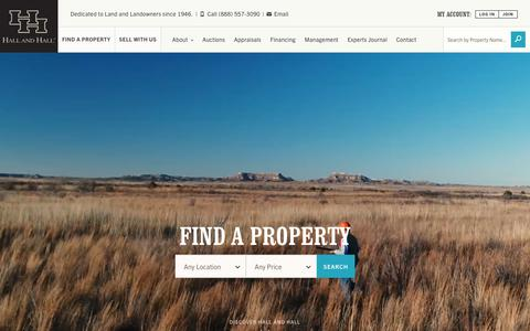 Screenshot of Home Page hallhall.com - Ranches and Land for Sale in Montana, Texas, Colorado - captured Sept. 13, 2018