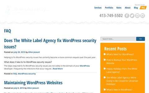 Screenshot of FAQ Page thewhitelabelagency.com - Professional WordPress Development Subcontractors | The White Label Agency | Outsourced WordPress Website Development - captured Jan. 16, 2016