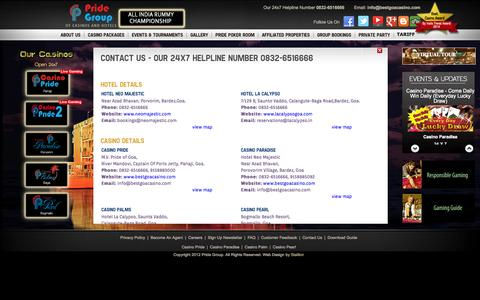 Screenshot of Contact Page bestgoacasino.com - Contact us | Casino Pride | Best Casino in Goa | Casino Packages in Goa | Poker Tournaments Goa | Floating Casino in Goa India |Offshore  casinos in Goa | casino deals Goa | casino in India - captured Oct. 1, 2014