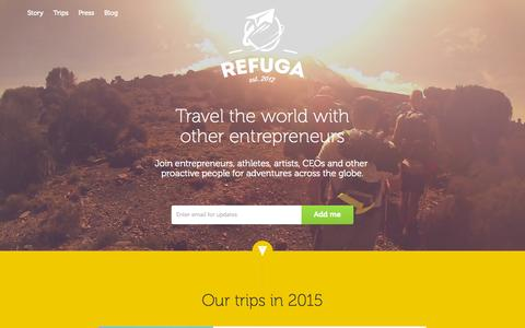 Screenshot of Home Page refuga.com - Refuga – Travel the world with other entrepreneurs - captured Sept. 10, 2015