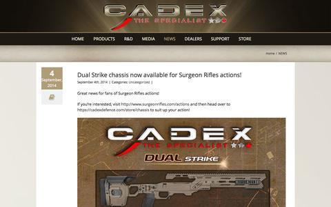 Screenshot of Press Page cadexdefence.com - NEWS - Cadex Defence - captured Sept. 26, 2014