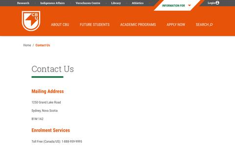 Screenshot of Contact Page cbu.ca - Contact Us - Cape Breton University : Cape Breton University - captured Nov. 11, 2019