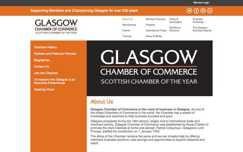 Screenshot of About Page glasgowchamberofcommerce.com - About Us - Glasgow Chamber of Commerce - captured July 4, 2015