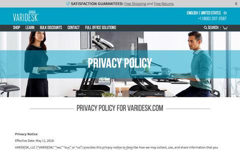 Screenshot of Privacy Page varidesk.com - Privacy Policy | VARIDESK Standing Desks - captured April 22, 2018