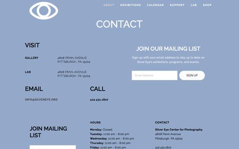 Screenshot of Contact Page silvereye.org - Contact — Silver Eye Center for Photography - captured Oct. 5, 2017