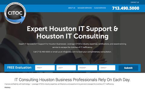 Screenshot of About Page citoc.com - IT Consulting Companies Houston TX, IT Consultant | CITOC - captured Sept. 25, 2018
