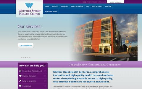 Screenshot of Home Page wshc.org - Whittier Street Health Center - captured July 11, 2014