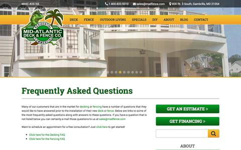 Screenshot of FAQ Page midatlanticdeckandfence.com - Deck & Fencing Frequently Asked Questions - captured Sept. 20, 2018