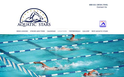 Screenshot of Locations Page aquaticstars.com - Aquatic Stars private swimming lessons and swim team practices | LOCATIONS - captured Nov. 21, 2016