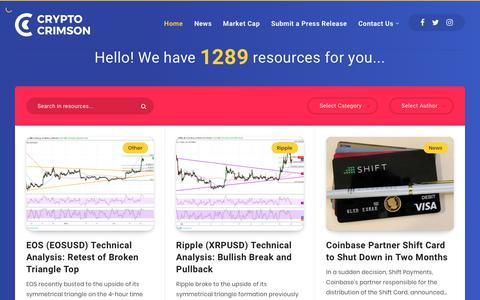 Screenshot of Home Page cryptocrimson.com - Bitcoin, Ethereum, ICO and Crypto News - Crypto Crimson - captured Feb. 20, 2019