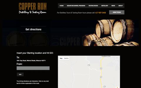 Screenshot of Maps & Directions Page copperrundistillery.com - Get directions - Copper Run Distillery - captured July 22, 2018