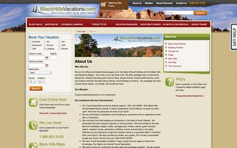 Screenshot of About Page blackhillsvacations.com - BlackHillsVacations - Official central reservation system for the Black Hills of South Dakota - captured Sept. 22, 2014