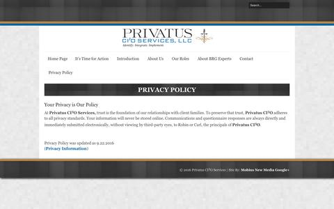 Screenshot of Privacy Page prcio.com - Privacy Policy | Privatus CI3O Services LLC. - captured Nov. 13, 2016