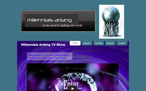 Screenshot of Home Page millennialsarising.com - Millennials Arising TV Show - captured Sept. 30, 2014