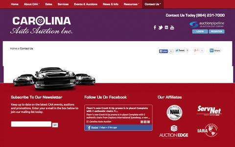 Screenshot of Contact Page carolinaautoauction.com - Carolina Auto Auction :: Contact Us - captured Oct. 2, 2014
