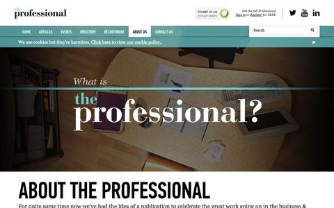 Screenshot of About Page the-professional.co.uk - The Professional | About The Professional Magazine - captured Oct. 9, 2014