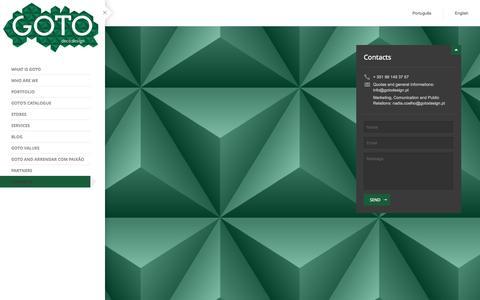 Screenshot of Contact Page gotodesign.pt - Contacts | GOTO deco design - captured Oct. 1, 2014