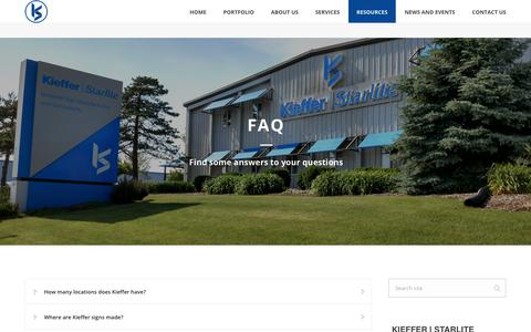 Screenshot of FAQ Page kieffersigns.com - National Sign Company FAQ's - Kieffer | Starlite (877) 543-3337 - captured July 5, 2017