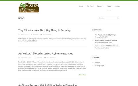 Screenshot of Press Page agbiome.com - AgBiome  » News - captured Sept. 12, 2014