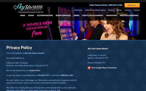 Screenshot of Privacy Page skyutecasino.com - Privacy Policy   Sky Ute Casino Resort - captured Sept. 20, 2018