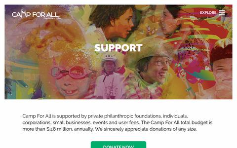 Screenshot of Support Page campforall.org - Support — Camp For All - captured Nov. 4, 2018