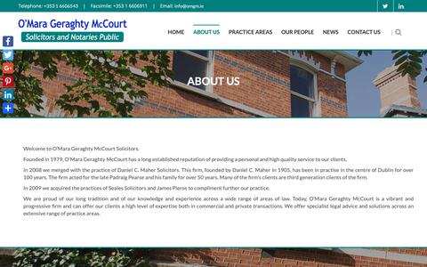 Screenshot of About Page omgm.ie - O'Mara Geraghty McCourt Solicitors - Dublin Solicitors - captured Oct. 19, 2018