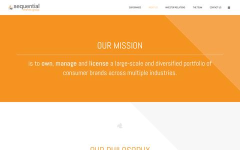 Screenshot of About Page sequentialbrandsgroup.com - Sequential Brands Group |   About Us - captured Oct. 1, 2014