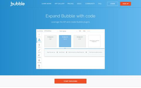 Screenshot of Developers Page bubble.is - Bubble - Developers - captured June 25, 2017