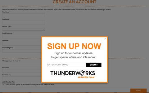 Screenshot of Signup Page thundershirt.com - Create New Customer Account | ThunderShirt - captured Jan. 17, 2016