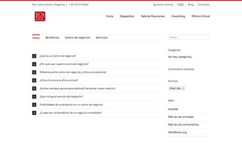 Screenshot of FAQ Page bcndoc.com - BCNDOC   –  FAQS - captured Oct. 4, 2014