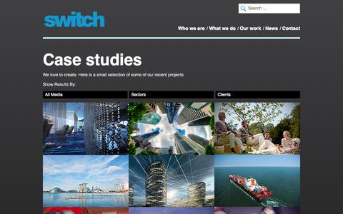 Screenshot of Case Studies Page switch.ae - Our Work - Switch - captured Oct. 6, 2014