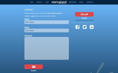 Screenshot of Contact Page startupland.tv - Startupland - captured Sept. 30, 2014