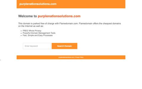 Screenshot of Home Page Privacy Page purplenationsolutions.com - Flamedomain Parking - captured Oct. 23, 2018