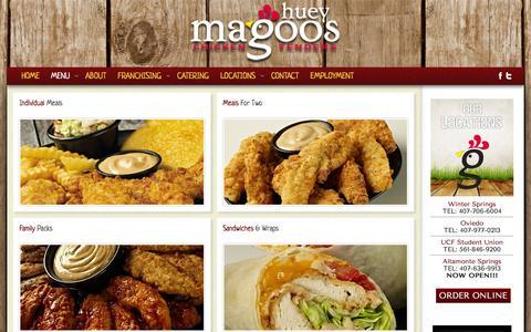 Screenshot of Menu Page hueymagoos.com - Huey Magoos Chicken Tenders - Menu - captured Jan. 22, 2016